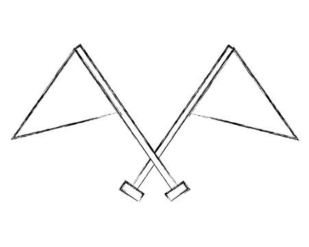 crossed flag progress success finish symbol vector illustration hand drawing