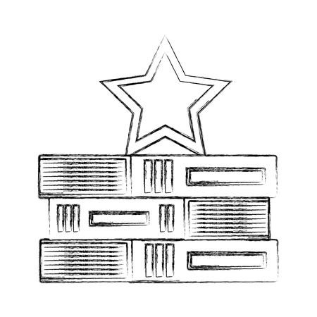 stacked books education with star on top vector illustration hand drawing