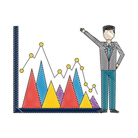 businessman pointing statistic diagram business report vector illustration