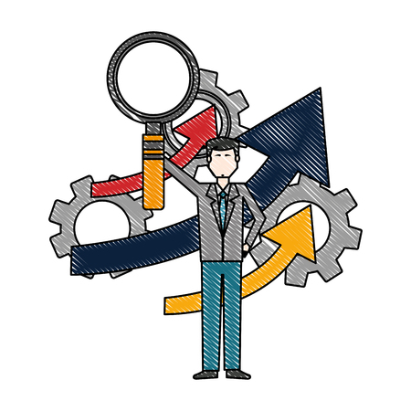 businessman holding magnifying glass gears arrow business vector illustration  イラスト・ベクター素材