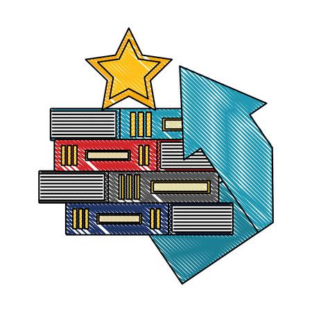 Business-Pfeil und gestapelte Bücher-Stern-Vektor-Illustration