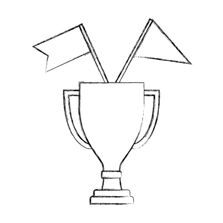 business trophy flags awards winner champion vector illustration hand drawing  イラスト・ベクター素材