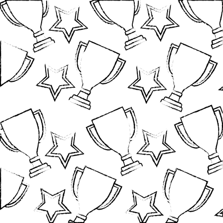 trophys stars award prizes win emblem pattern vector illustration hand drawing Illustration