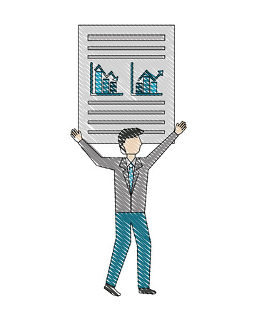 businessman holding document business paper report vector illustration