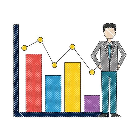 businessman with statistics bar chart pointed line vector illustration Illustration