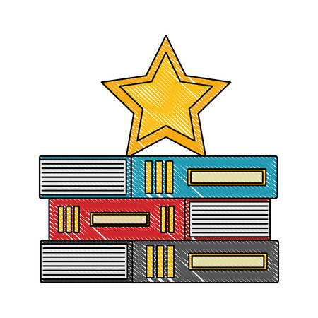 stacked books education with star on top vector illustration