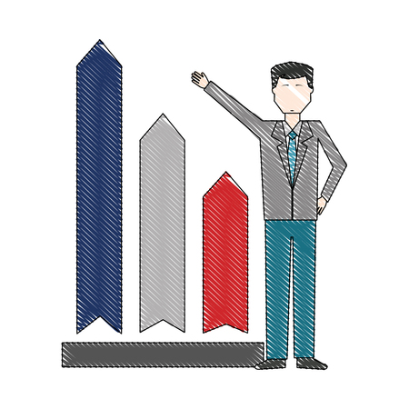 businessman with chart arrow up financial vector illustration