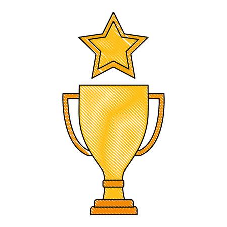 business trophy star award prize vector illustration