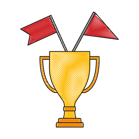 business trophy flags awards winner champion vector illustration