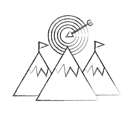 mountains with flag on top and target success vector illustration hand drawing