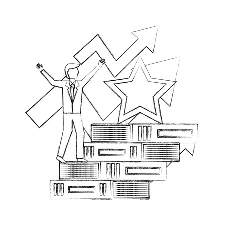 businessman climbing pile books arrow up star award vector illustration hand drawing Stock Illustratie