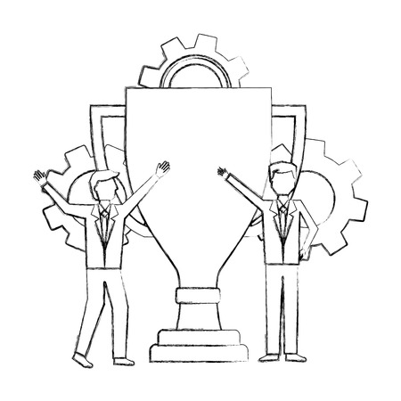businessman with trophy gears team work vector illustration hand drawing Illustration