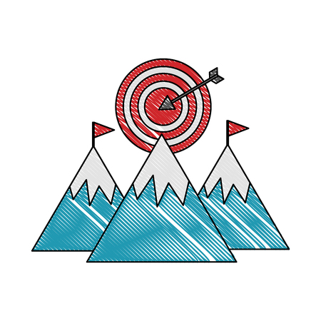 mountains with flag on top and target success vector illustration