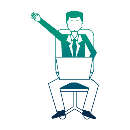 businessman sitting with laptop computer avatar character vector illustration design Иллюстрация