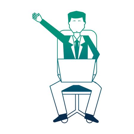 businessman sitting with laptop computer avatar character vector illustration design Illustration