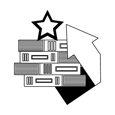 pile of library books with star and arrow up vector illustration design
