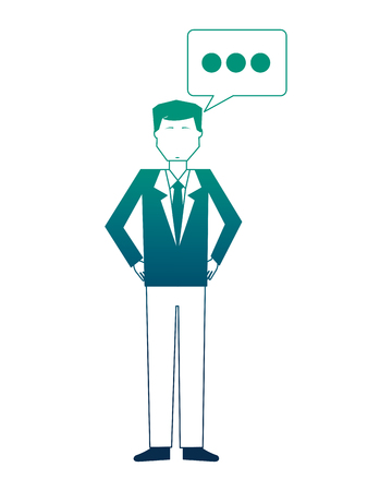 businessman with speech bubble avatar character vector illustration design