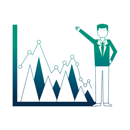 businessman with graph statistic avatar character vector illustration design