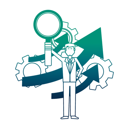 businessman with magnifying glass isolated icon vector illustration design Foto de archivo - 111927711