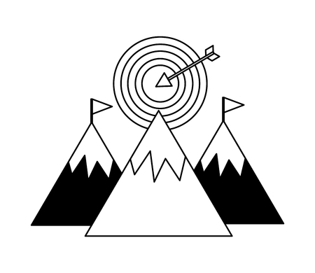 mountains with target arrow success isolated icon vector illustration design Ilustração