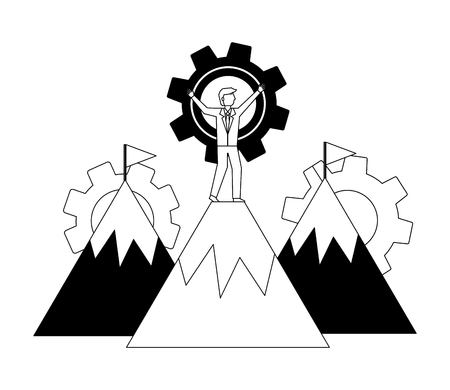 mountains with businessman and gears machine vector illustration design Stok Fotoğraf - 111927720