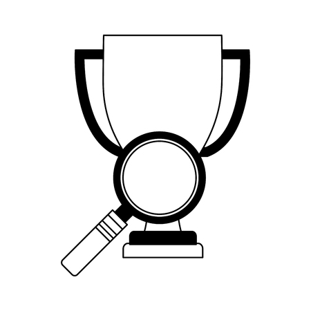 trophy award cup with magnifying glass vector illustration design Illustration