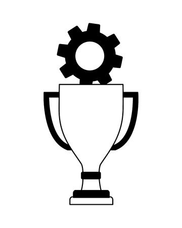 trophy award cup with gear machine vector illustration design Standard-Bild - 106553182