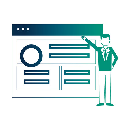 businessman with web page isolated icon vector illustration design