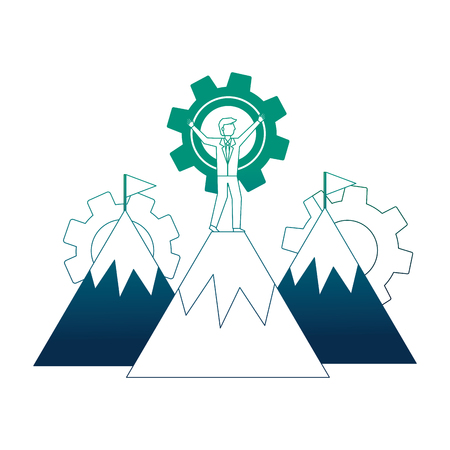 mountains with businessman and gears machine vector illustration design