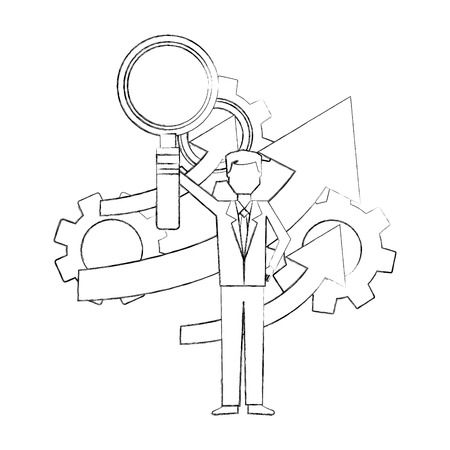 businessman holding magnifying glass gears arrow business vector illustration hand drawing Ilustração