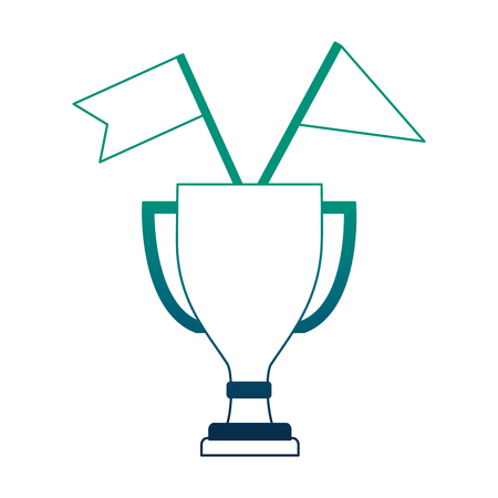 trophy award cup with flags isolated icon vector illustration design