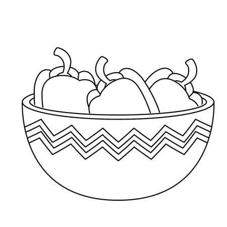 fresh peppers in bowl vegetarian food vector illustration design