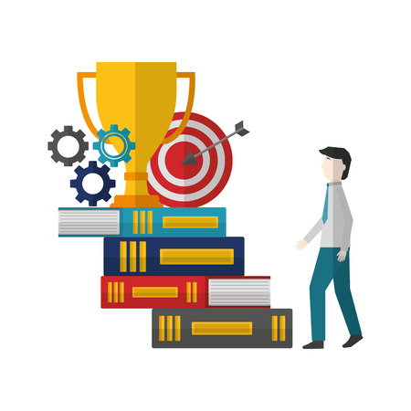 businessman climbs stairs of books with gears target trophy vector illustration