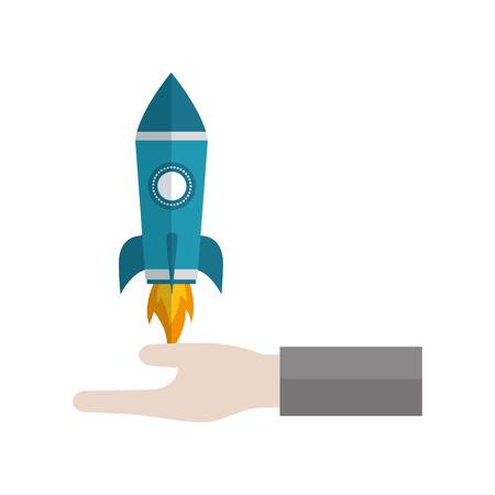 hand holding rocket business start up vector illustration