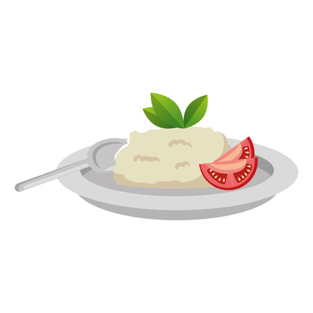 dish with rice and tomatoe vector illustration design Stok Fotoğraf - 106559296