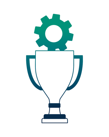 trophy award cup with gear machine vector illustration design