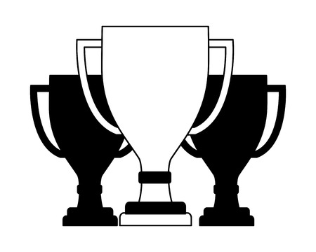 set trophy award cup isolated icon vector illustration design