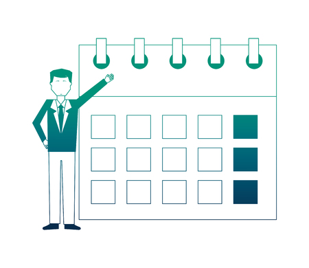 businessman with calendar avatar character vector illustration design