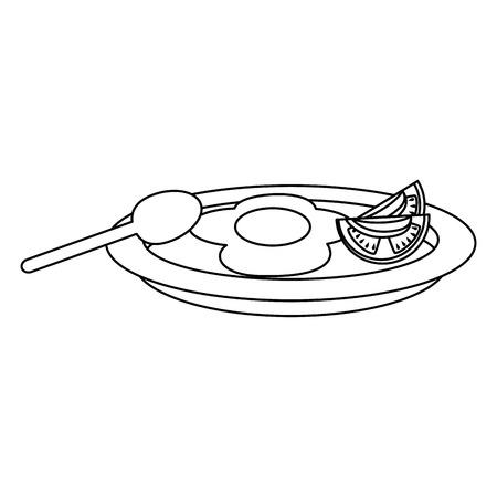 dish with egg fried and tomato vector illustration design Archivio Fotografico - 106559297