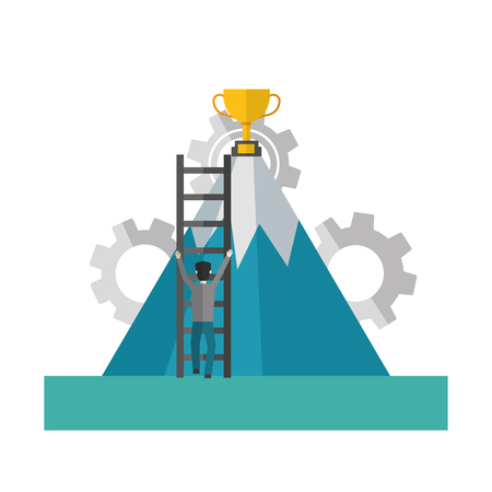 businessman climbing stairs mountain trophy success vector illustration Illustration