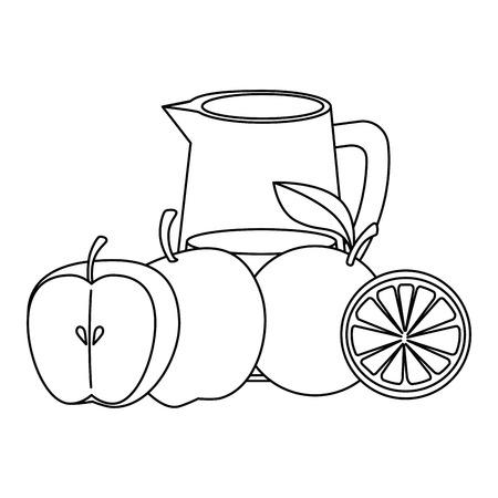 fresh fruits and water jar vector illustration design Illustration
