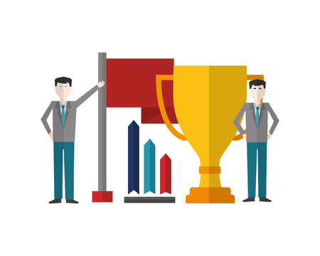 businessmen with trophy flag and chart diagram vector illustration