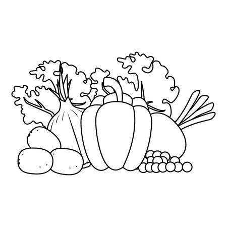 fresh vegetables vegetarian food vector illustration design Illustration