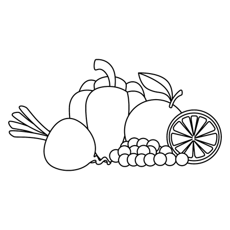 fresh fruits and vegetables vector illustration design