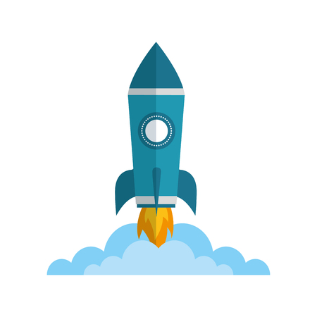 rocket launch startup cartoon image vector illustration Vectores