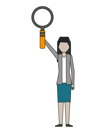business woman raised hand with magnifying glass vector illustration