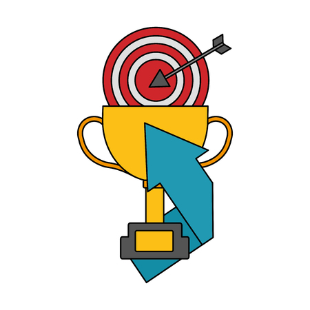business trophy target and arrow success vector illustration