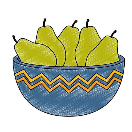 fresh pears in bowl healthy food vector illustration design Ilustração