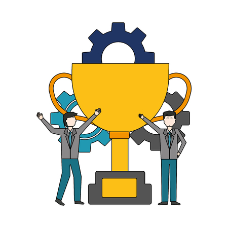 businessmen with trophy and gears work team vector illustration