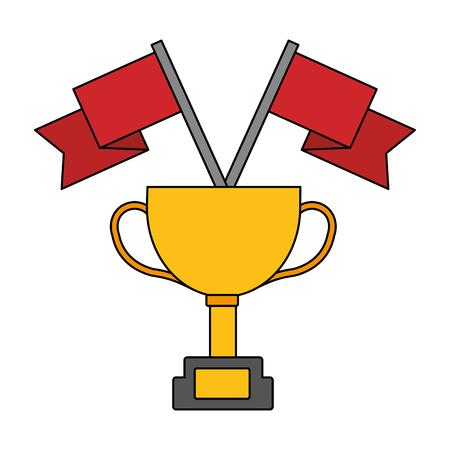 award trophy flags win vector illustration
